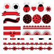 Digital vector scrapbook with ladybug — Stock Vector