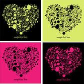 поздравительные открытки с формы сердца — Cтоковый вектор
