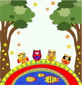 Vector tree with funny owls — Stock Vector