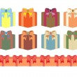 Set of gift boxes in different colors — Stock Vector