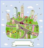 Spring sunny town. Vector illustration. — Stock Vector