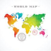 Vector water-colour world map — Stock Vector