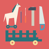 Basic CMYKVintage wooden horse and toy tools — Stock Vector