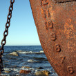 Stock Photo: Rusty ship and sky