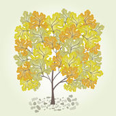 Tree with yellow leafage. Vector. — Stockvector