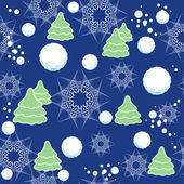 Seamless winter pattern with snowflakes, snowball, firtree — Stockvektor