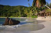 Beach Anse Takamaka on the island of Mahe, Seychelles — Stock Photo