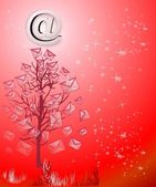 Christmas tree on red — Stock Photo