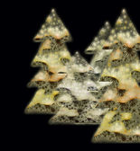 Chrismas bäume goldtönen auf schwarz — Stockfoto