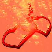 Two hearts love they give off — Stock Photo