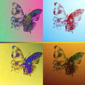 Butterflies on colorful backgrounds — Stock Photo