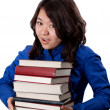 Young asian Girl with books — Stock Photo