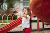 Cute asian baby outdoors — Stock Photo