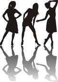Three girls dancing — Stock Vector