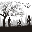 Family on bicycle trip out of town - Stock Vector