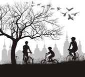 Family on bicycle trip out of town — Stock Vector