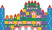 The castle of colored cubes — Stock Vector