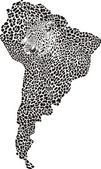Jaguar on the map of South America — Vector de stock