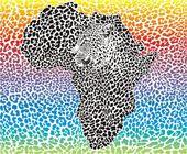 Sfondo arcobaleno di leopardo con un simbolo dell'africa — Vettoriale Stock