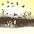 Stockvector : Crows on meadow