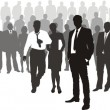 People with network boss on front — Imagen vectorial