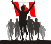 Winner of the athletics competition with the Canada flag at the finish — Stock Vector