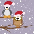 Vector owl and penguin with santa's hats — Stock Vector
