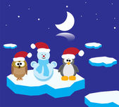 Vector owl, penguin and snowman on the ice floe — Stock Vector