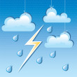Vector cloud, rain drops and lightning — Stock Vector
