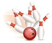 Vector bowling ball and pins — Stock Vector