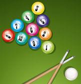 Vector billiard table with balls — Stock Vector