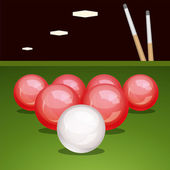 Vector billiard table with balls and cues — Stock Vector