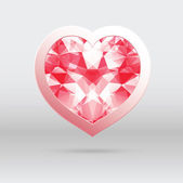 Vector heart with diamond mosaic, abstract design for Valentines — Stock Vector