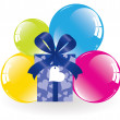 Colorful balloons and a gift box — Stock Vector #6004479