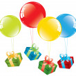 Colorful balloons and a gift box — Stock Vector #6004507