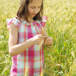 Young beautiful girl in a field of wheat — Stock Photo #12610045