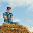 Man on a stack of straw against a field — Stock Photo #12613235