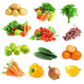 Collection of fresh vegetables and fruits isolated — Stock Photo