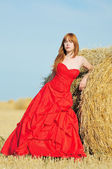 Bride in red wedding dress in a field — Stock Photo