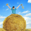 Man on a stack of straw against a field — Stock Photo #13092332