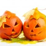 Две оранжевые тыквы Джек O Фонари — Стоковое фото
