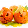 Two orange halloween pumpkins Jack O Lanterns — Stock Photo #13416287