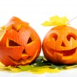 Two orange halloween pumpkins Jack O Lanterns — Стоковое фото #13416351