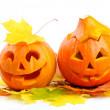 o fener iki turuncu halloween pumpkins jack — Stok fotoğraf