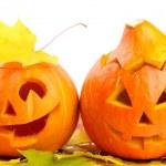 Two orange halloween pumpkins Jack O Lanterns — Stock Photo #13416404