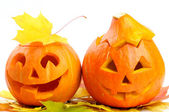Two orange halloween pumpkins Jack O Lanterns — Stok fotoğraf