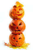 Citrouilles d'halloween scary jack o lanternes — Photo