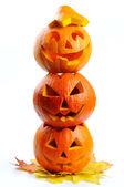 Abóboras de halloween assustador jack o lanternas — Foto Stock