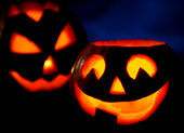 Scary halloween pumpkins jack-o-lantern — Stock Photo