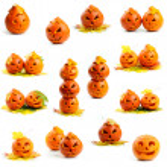 Set of orange halloween pumpkins Jack O Lanterns — Stock Photo